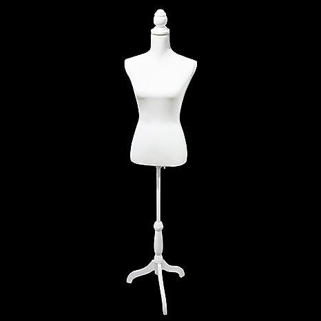 White Female Mannequin Torso Dress Form Display w//Tripod Stand