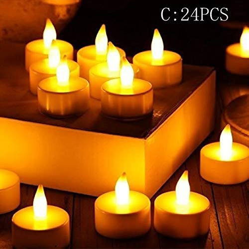 Elevin(TM)  24pc LED Tea Light Candles Realistic Battery-Powered Flameless Candles