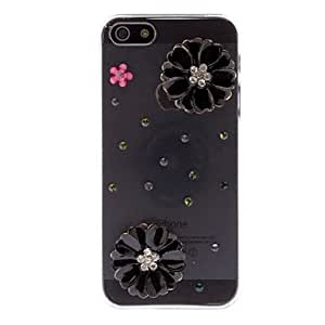 Diseño de la caja del diamante 3D Look Negro Crisantemo transparente dura de la PC para el iPhone 5/5S