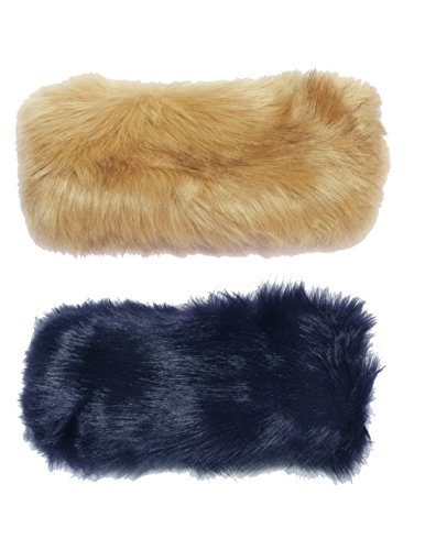 (Pack of 2) Womens Fashion Winter Faux Fur Headband / Headwrap one size Khaki & Dark Blue