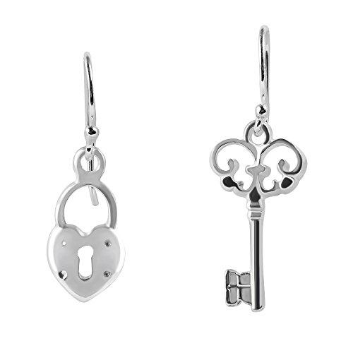 rt Lock .925 Sterling Silver Dangle Earrings (Loving Heart Earrings)
