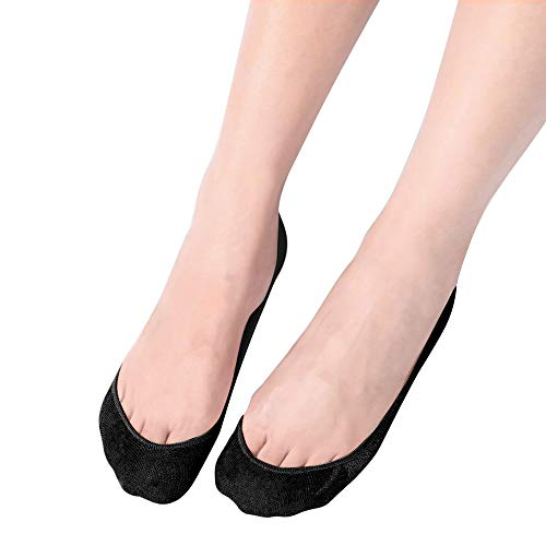Womens No Show Socks Ultra Low Cut Socks Non Slip Cotton Socks for Flats 3/6 Pairs (6.5-8, 6Pairs-Black)