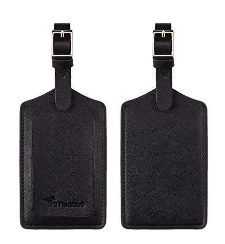 Travelambo Leather Luggage Bag Tags (Black 4001- Classic Black)
