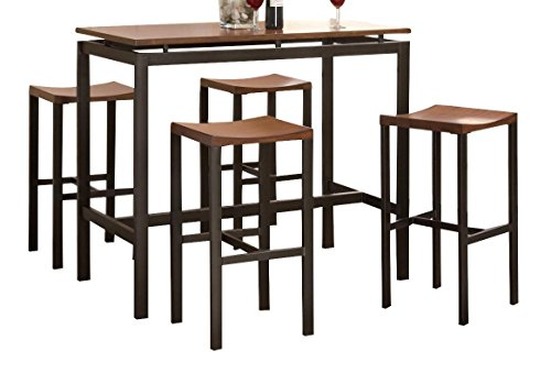 Atlus 5-piece Counter Height Dining Set Black and Brown (Furniture Crate Room And Barrel Dining)