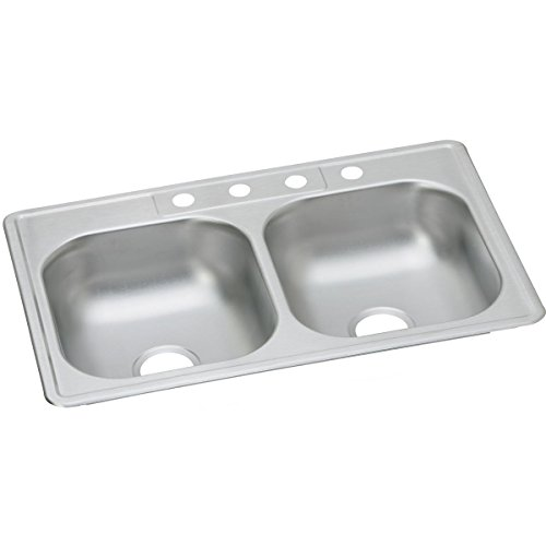 Dayton D233214 Equal Double Bowl Top Mount Stainless Steel Sink by Elkay