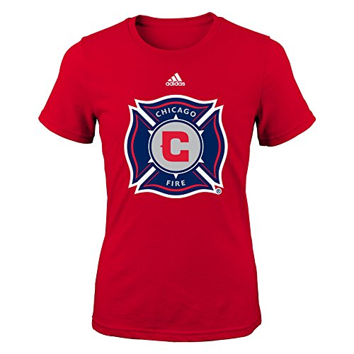 MLS Chicago Fire Primary Logo Girls 7-16 Short Sleeve Tee, X-Large, (Fire Youth T-shirt)