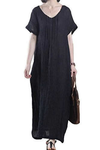 Asher Women's Mori Girl Style Sleeveless Linen Casual Loose Long Vest Dress(One Size, Black) from AsherFashion
