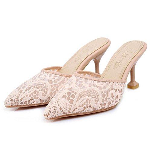 Mules Fermé Bout Coolcept Femmes Talons Chaussures Rose U4pwqw5x