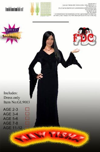 MORTICIA ADAMS FAMILY STYLE FANCY DRESS COSTUME CHILD By Celebration Central (11-12 years) by FDC (Morticia Adams Costumes)
