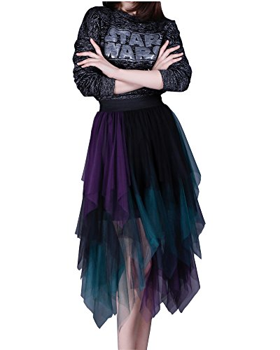 Eorish Women's Elastic Waist Colorful Irregular Tulle Pleated Ball Skirt (Purple) (Black And Purple Tutu Skirt)