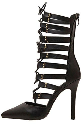 sexy Nachtclub Europa und Amerika hohl Quer Bandage mit hohen Absätzen spitzen Schuhen