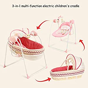 3-in-1 Multi-Function Electric Baby Cradle, Baby Rocking Chair, Baby Carrier Basket, Pink Elise