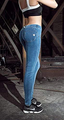 Battercake Lápiz Sport Skinny Mujeres Colores Sólidos Leggings Jeans Pantalones Casuales Acogedor Claro Azul Con Yoga Bolsillos rqSr7C5E