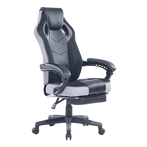 HEALGEN Gaming Chair with Footrest Racing Computer PC Chair Ergonomic High Back Swivel Executive Office Chair Mesh Leather Reclining Desk Chair RC906 Black