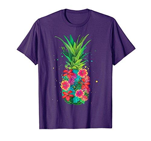 Pineapple Flowers Shirt Women Aloha Hawaii Vintage Hawaiian