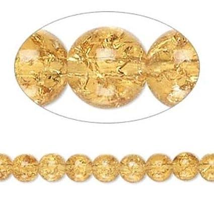 Amazon com: 1 Pc of Strand Honey Amber Crackle Glass 5-6mm Round