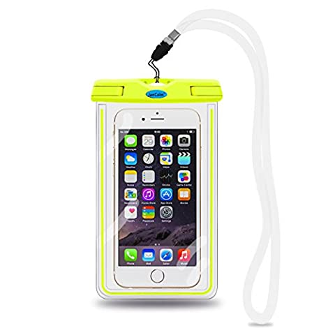 Universal Waterproof Pouch Case,JanCalm [Luminous Feature] IPX8 Certified Protective Smartphone Credit Card Waterproof Bag Life Case for iPhone 6 Plus/6/5s/5/5C/4S,for Galaxy S6,S5,S4 Etc (Samsung Galaxy Phone 7inch)