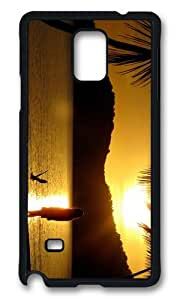 MOKSHOP Adorable girl beach sunset Hard Case Protective Shell Cell Phone Cover For Samsung Galaxy Note 4 - PCB