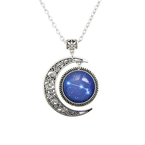 Zodiac Sign necklace Silver Moon pendant Aries jewelry Aries necklace