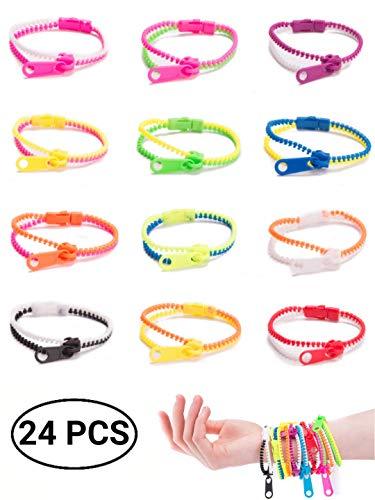 UpBrands Fidget Zipper Bracelets Sensory Toys Bulk Set Neon Colors, Kit for Birthday, Party Favors for Kids, Goodie Bags, Easter Egg Basket Stuffers, Pinata Filler, Small Prizes (24 Pack 7.5 Inches)