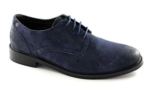 Base London Benno QQ08403 Blau Mann Weichem Wild Derby-Schuhe Blu