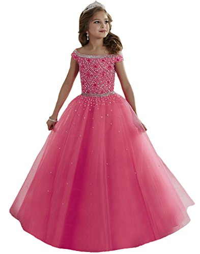 Aisha Girls' Bateau Crystal Floor Length Pageant Gowns 06 US Peach (Poofy Dresses)