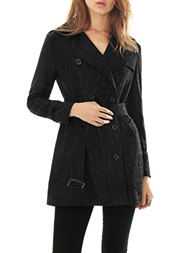 Allegra K Women Long Sleeves Double Breasted Belted Lace Trench Coat Black S