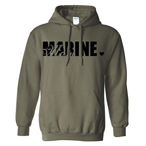Marine Mom Hooded Sweatshirt in Military Green - Large