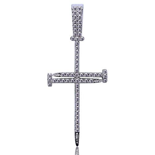 JINAO Pave Diamon Charm Silver Plated Nail Cross Pendant -