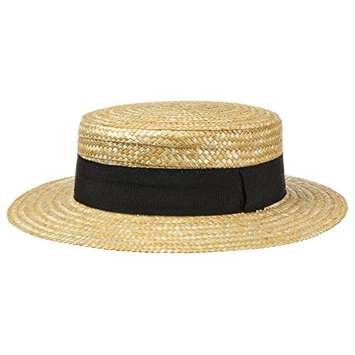 Sun hat Made of Wheat Straw Lipodo Boater Straw Hat Ladies//Mens Hat with Grosgrain Ribbon Nature 61 cm Gondolier hat for Spring//Summer Made in Italy