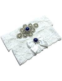 Wedding Lace Garter Set With Blink Rhinestone Add Navy Blue PearlPretty Box Something