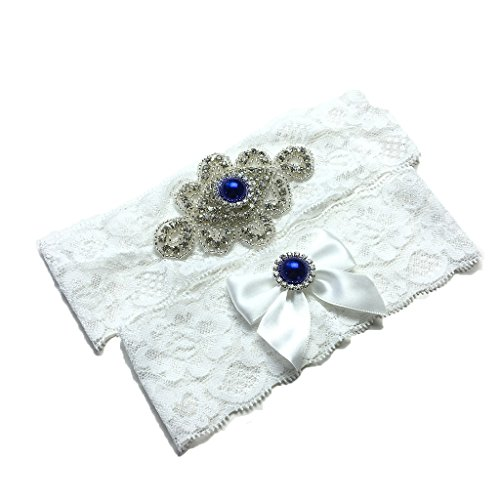 Unibuy Wedding Lace Garter Set With Blink Rhinestone Add Navy Blue Pearl(Pretty Box Something blue) (Something Blue Garter Set)