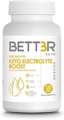Keto Electrolyte Supplement Boost by BETT3R KETO Perfect Keto Potassium, Magnesium, Calcium, Sodium Formula Eliminate Cramps, Rapid Hydration Recovery Keto Flu Low Carb Diet 120 Capsules