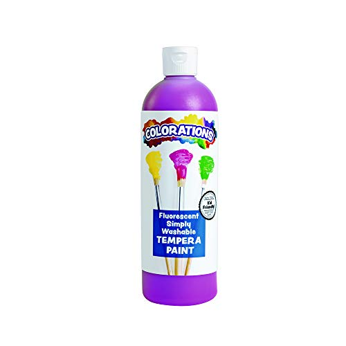 (Colorations Washable Tempera Paint, 16 fl oz, Fluorescent Purple, Neon, Non Toxic, Vibrant, Bold, Bright, Kids Paint, Craft, Hobby, Fun, Art Supplies)