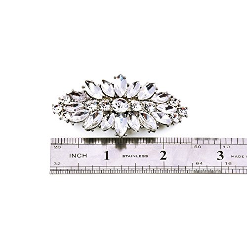ElegantPark AW Women's Leaf Design Rhinestones Crystal Clutch Dress Hat Shoe Clips Silver 2 Pcs by ElegantPark (Image #7)