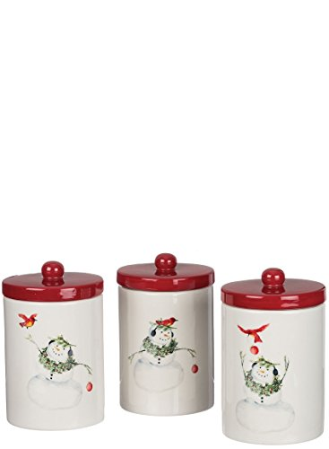 White Snowman and Cardinal Assorted 4.5 x 7.5 Ceramic Food Canisters Set of 3
