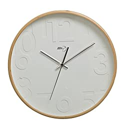 Maytime Silent Wall Clock Wood 13-inches Non Ticking Digital Quiet Sweep Decorative Vintage Wooden Clocks(Woodcolor)