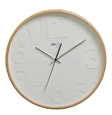 Maytime Silent Wall Clock Wood 13-inches Non Ticking Digital Quiet Sweep Decorative Vintage Wooden (Rhythm Digital Clock)