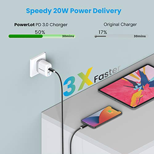 PowerLot PD 20W USB C Charger for iPhone 12/12 Pro/ 12 Pro max, 12W USB Charger for iPad/iPad Pro, 32W Dual Port Power Adapter, GaN Wall Charger with Foldable Plug for iPhone 13/ Pixel/Galaxy etc
