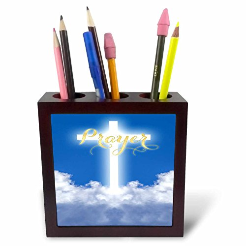 3dRose TDSwhite – Miscellaneous Photography - Prayer Glowing Cross Heaven Clouds - 5 inch Tile Pen Holder (ph_285324_1) by 3dRose