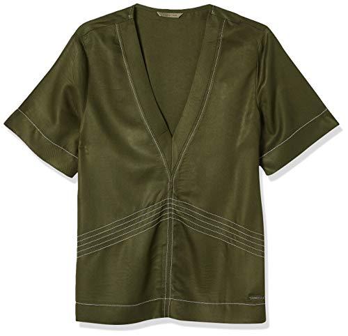 Blusa com decote V, Colcci, Feminino, Verde (Verde Bennet), M