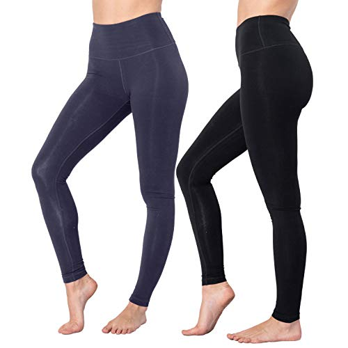 Reflex Sportswear - 90 Degree By Reflex High Waist Cotton Power Flex Leggings - Tummy Control - Black and Heather Slate Grey 2 Pack - Small