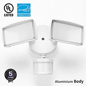 UL-listed Dual Head LED Outdoor Security Light, Motion Activated+Dusk to Dawn, 4 Modes Area Lighting, 20W (150W Equivalent), ENERGY STAR, 5000K Daylight, Exterior Floodlight for Entryways, Yard
