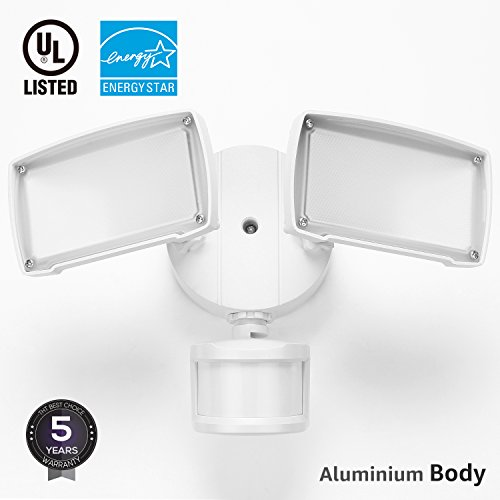 UL-listed Dual Head LED Outdoor Security Light, Motion Activated+Dusk to Dawn, 4 Modes Area Lighting, 20W (150W Equivalent), ENERGY STAR, 5000K Daylight, Exterior Floodlight for Entryways, (Motion Light Set)