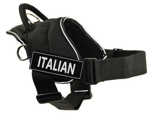 Dean & Tyler Fun Harness, Italian, Black with Reflective Trim, XX-Small, Fits Girth Size  18-Inch to 22-Inch