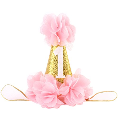 Baby Girl First Birthday Hat Princess 1 St Cake Smash Party Crown Gold Chiffon Flower Headband Pink]()