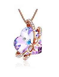 ❤Eternity of Love❤ Amethyst Crystal Necklace for Women Love Heart Necklace with Swarovski Crystals, Rose Gold Necklace Wedding Birthday Gifts for Women Mom-Jewelry Box Included