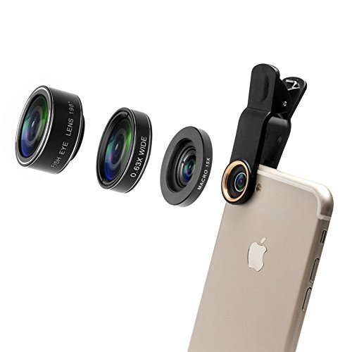 Godefa 3 in 1 HD Camera Lens Kit, 0.63X Super Wide Angle Lens & 15X Macro Lens & 198 Degree Fisheye Lens, Clip on Cell Phone Lens for iPhone 8, 7 Plus/7/6s Plus/6s/Samsung and Smartphones by Godefa