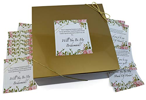 Bridesmaids Gift Boxes 8x8 (Set of 10 Boxes) with 16 Poem Proposal Labels for 10 Bridesmaids, 2 Maid of Honors, 2 Marton of Honors & 2 Flower Girls & Gold String (Gold)