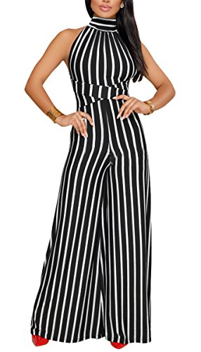 Women's Sexy V Neck Jumpsuit Casual Halter Striped Drawstring Palazzo Wide Leg Long Pants Outfits Backless (Large, Black2)